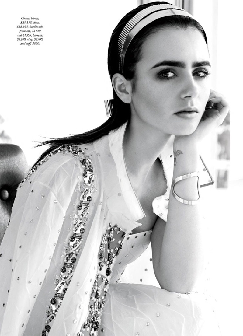 Lily Collins wears Chanel headbands, dress and embellished blouse in the photoshoot