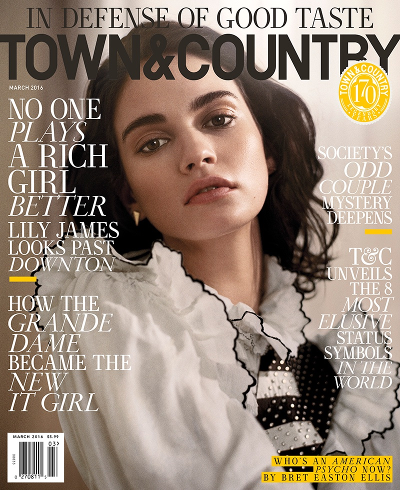 Lily James on Town & Country March 2016 cover