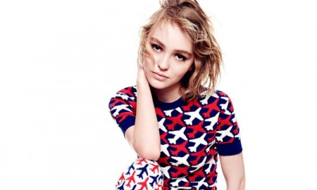 Lily-Rose Depp poses for Vanity Fair in Chanel sweater and pants. Photo: Tom Munro