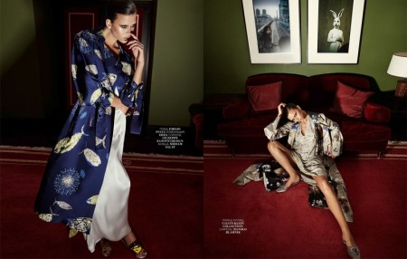 Georgia Fowler Does Pajama Dressing in Marie Claire Russia by Jack Waterlot