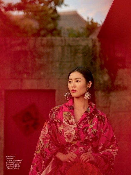 Liu Wen poses in floral print robe by Dolce & Gabbana