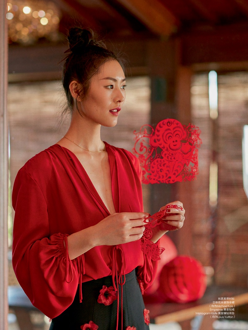 liu wen shows the power of red style in elle china