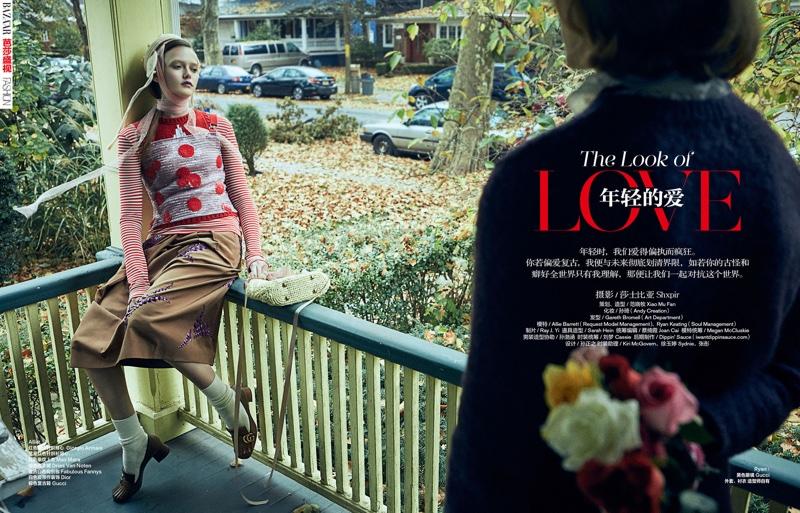 Allie Barrett and Ryan Keating star in Harper's Bazaar China's February issue