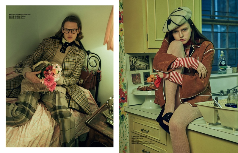 The models pose in geek chic fashion for the editorial