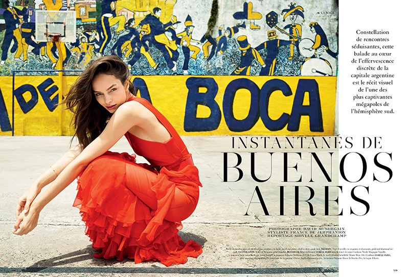 Luma Grothe stars in Air France Madame's February issue