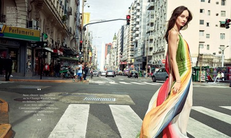 Luma stops traffic in a rainbow-hued Chloe maxi dress