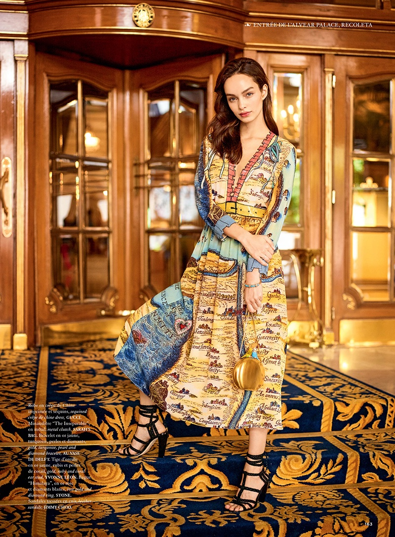 Luma Grothe poses in a patterned Gucci dress