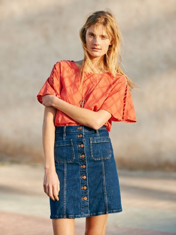 Madewell Embroidered Lattice Top and Denim Button-Front Skirt