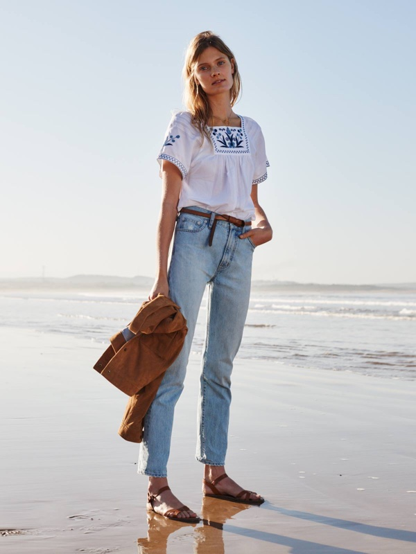 Madewell Embroidered Alma Peasant Top and The Perfect Summer Jean in Fitzgerald Wash