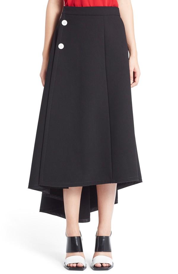 Marni Draped Asymmetrical Crepe Skirt