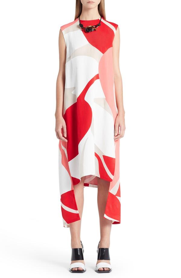 Marni Shadow Print Sleeveless Asymmetric Dress