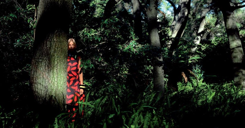 Suvi Koponen wears a leaf printed dress in Marni's spring 2016 campaign