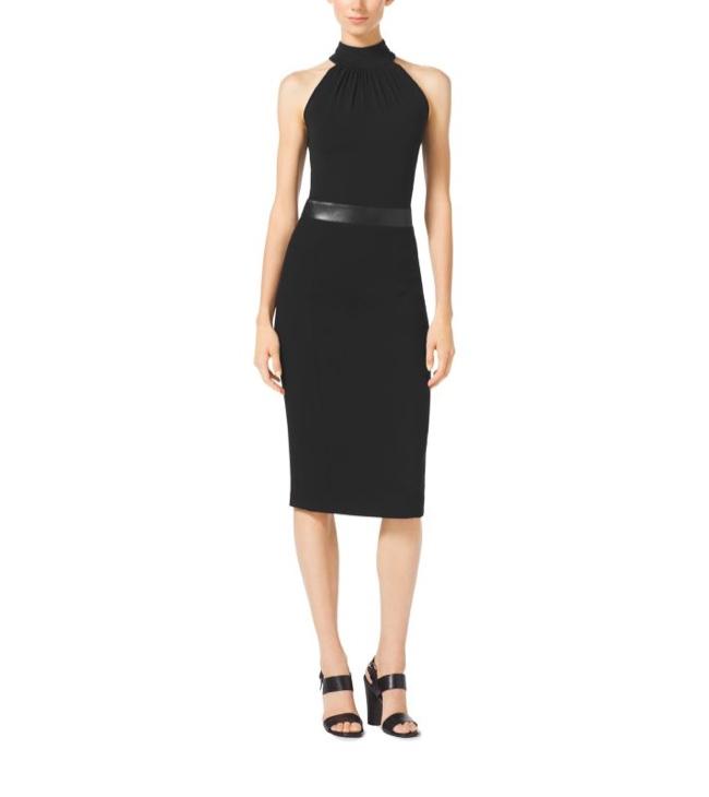 Michael Kors Black Boucle Crepe Halter Neck Dress
