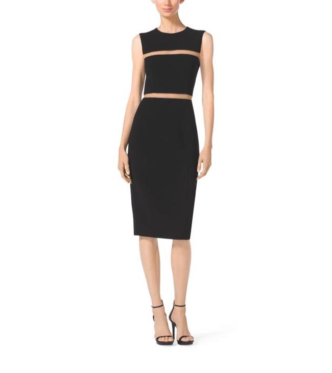 Michael Kors Black Wool Crepe Sheath Dress