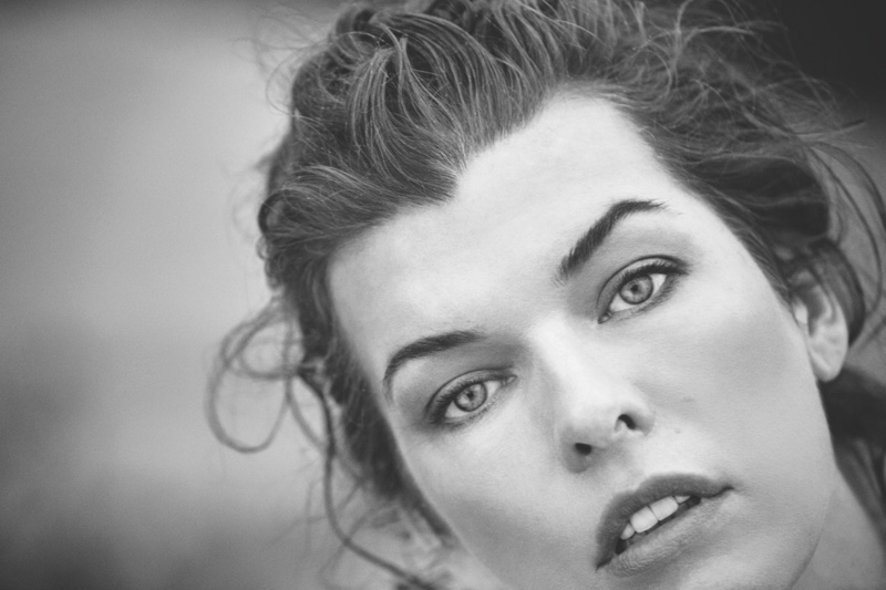 Milla stuns in this black and white closeup shot