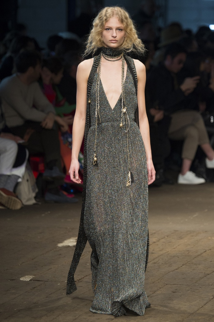 A model wears knitted glitter maxi dress from Missoni's fall-winter 2016 collection