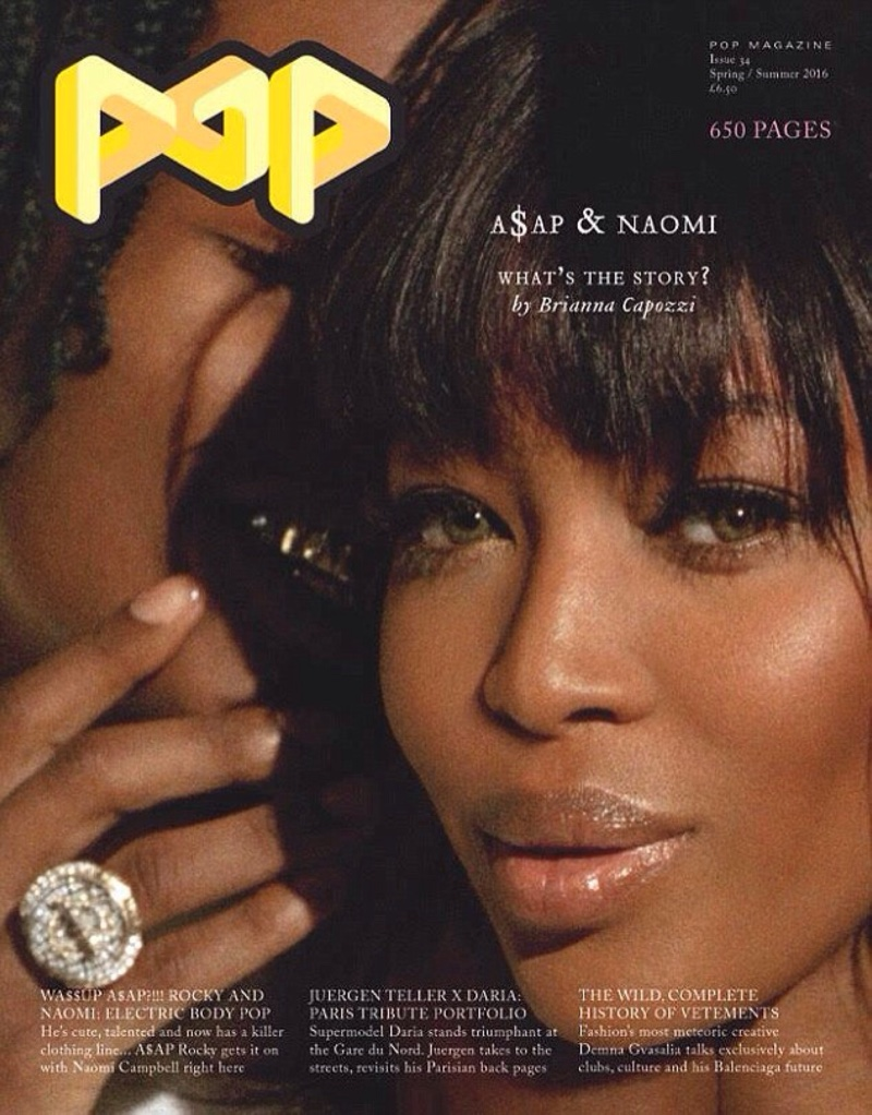 Naomi Campbell Cozies Up to A$AP Rocky in Guess for POP Magazine