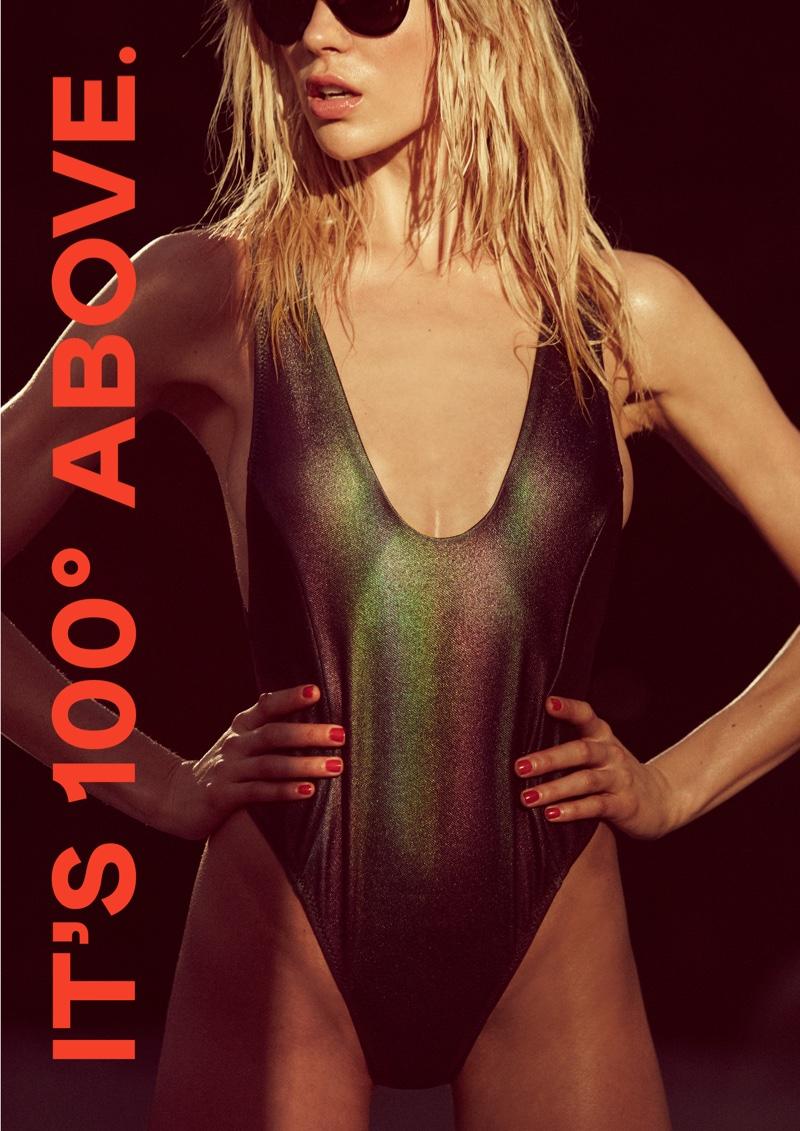 Nasty Gal Oil Slick Hologram Swimsuit