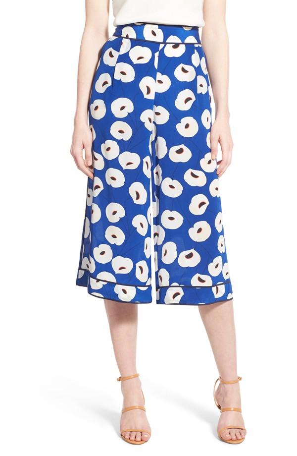 Olivia Palermo + Chelsea28 Floral Print Silk Culottes