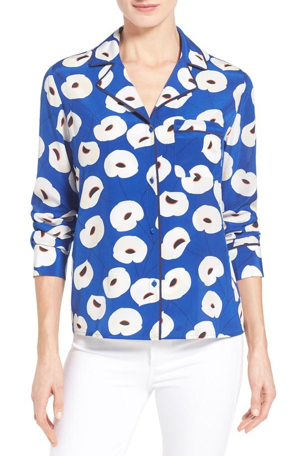 Olivia Palermo + Chelsea28 Silk Floral Print Shirt