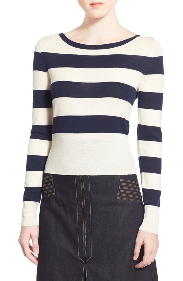 Olivia Palermo + Chelsea28 Stripe Wool Cashmere Pullover