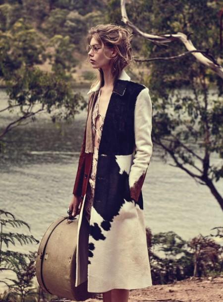 Ondria Hardin Brings Glamour to the Train Tracks in Vogue Australia