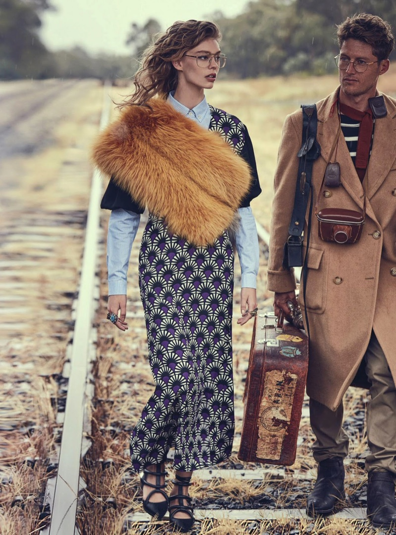 Ondria Hardin Brings Glamour to the Train Tracks in Vogue Australia