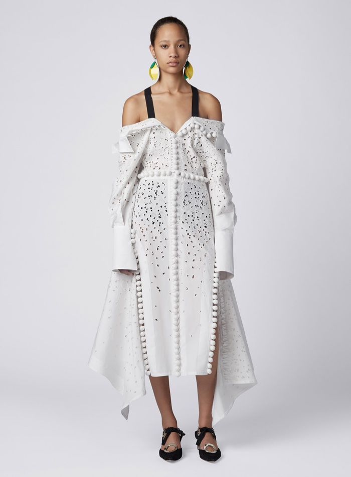 Proenza Schouler Tiered Ruffle Short Dress White Off The Shoulder