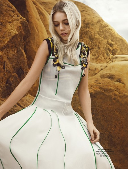 Pyper America wears Prada dress