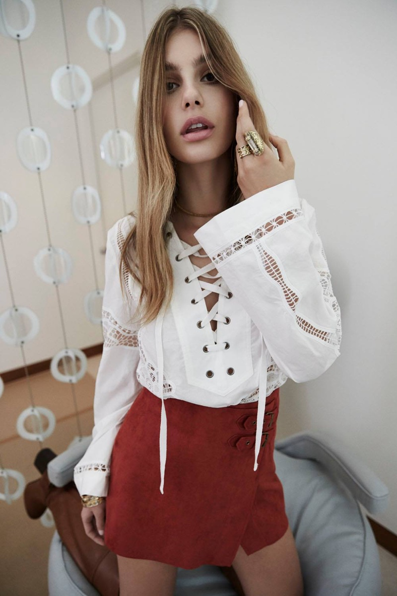 Free People Bittersweet Lace Up Top