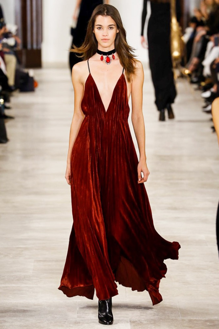 Ralph Lauren's fall-winter 2016 runway show featured a velvet dress with a plunging neckline