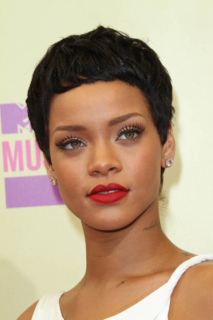 Rihanna Hairstyles rihanna wierd bob cut long bangs Rihanna Knows How To Rock A Pixie Haircut And Here She Is With One At The