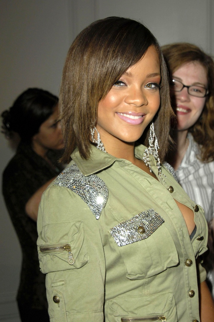 Fresh on the scene, Rihanna showed off a medium length brown hairstyle at an American Music Awards event in 2005. Photo: Everett Collection / Shutterstock.com
