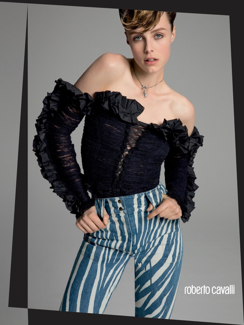 Edie Campbell Has a New Attitude in Roberto Cavalli's Spring 2016 Ads