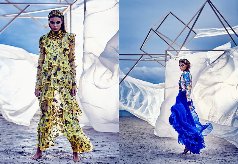 The model poses in spring's ruffle trend with a yellow Erdem dress (left) and DSquared2 jacket and skirt (right)
