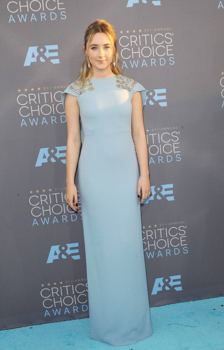 Saoirse Ronan attends the 2016 Critics' Choice Awards wearing a blue Antonio Berardi dress. Photo: Tinseltown / Shutterstock.com
