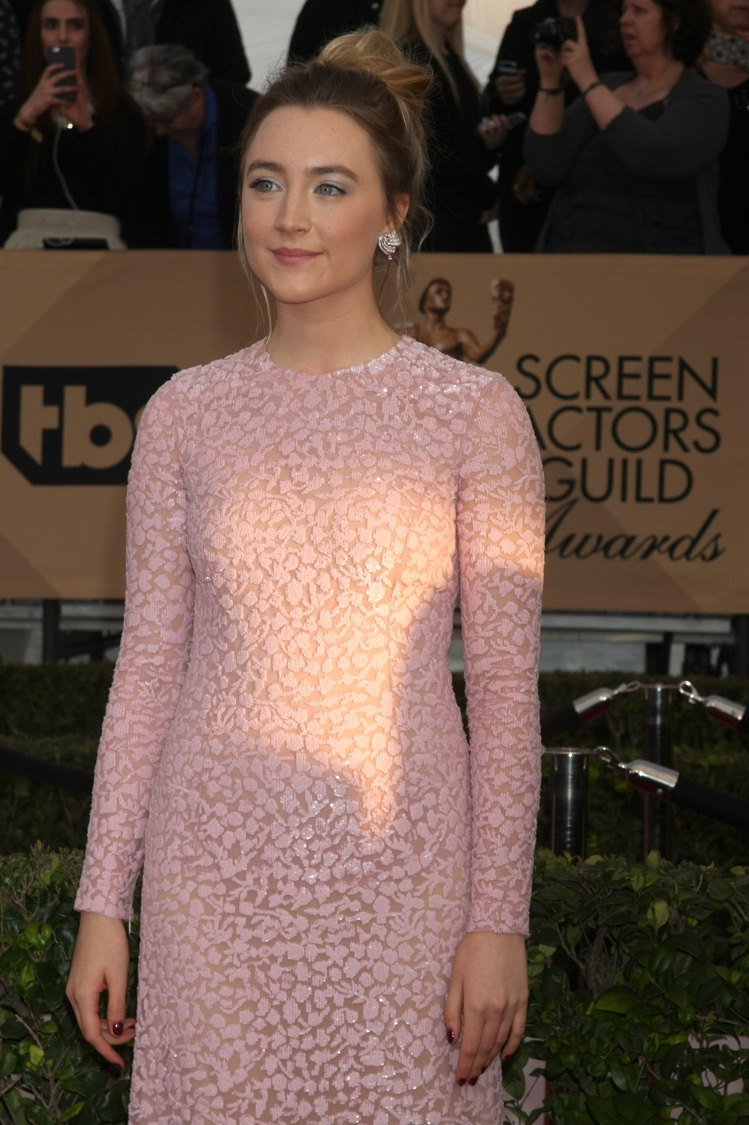 Saoirse Ronan attends the 2016 Screen Actors Guild Awards wearing a pink Michael Kors dress with sequins. Photo: Helga Esteb / Shutterstock.com