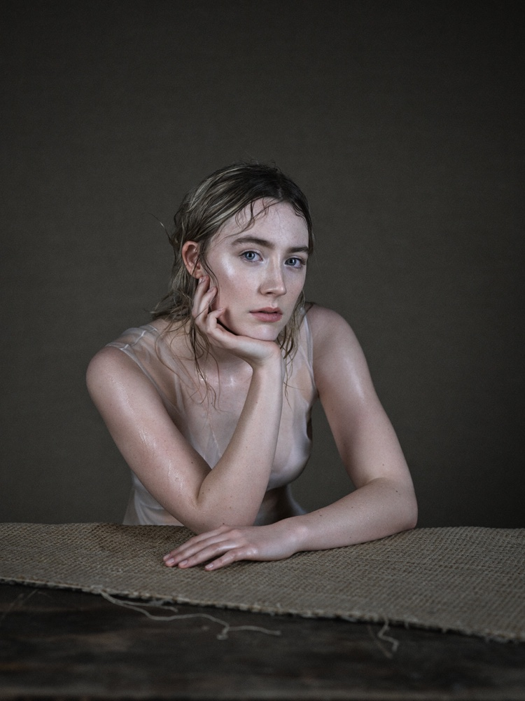 Saoirse Ronan poses for Interview in a Dior dress
