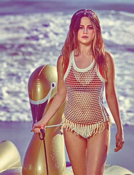Selena Gomez Hits the Beach for W Cover Story