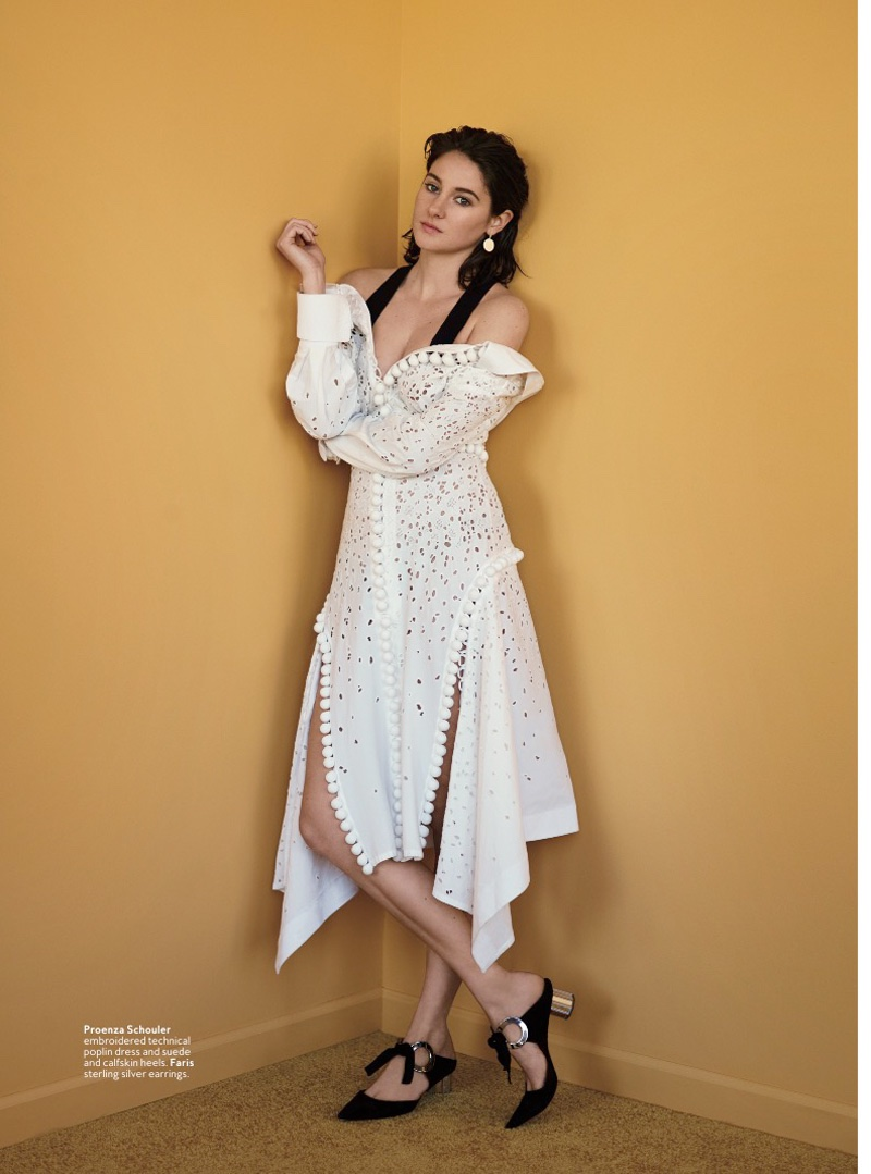 Shailene Woodley wears a white off-the-shoulder dress with shoes designed by Proenza Schouler