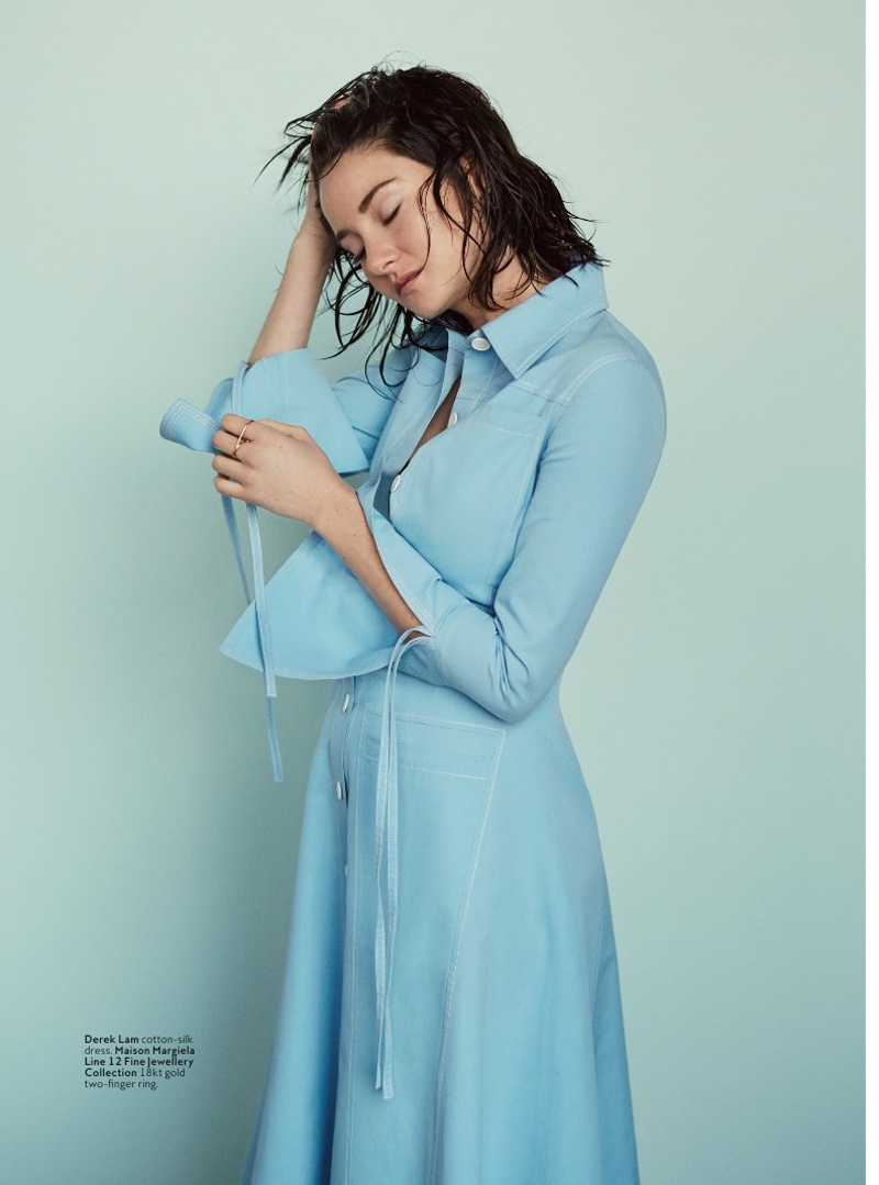 Shailene poses in a blue cotton silk dress from Delpozo