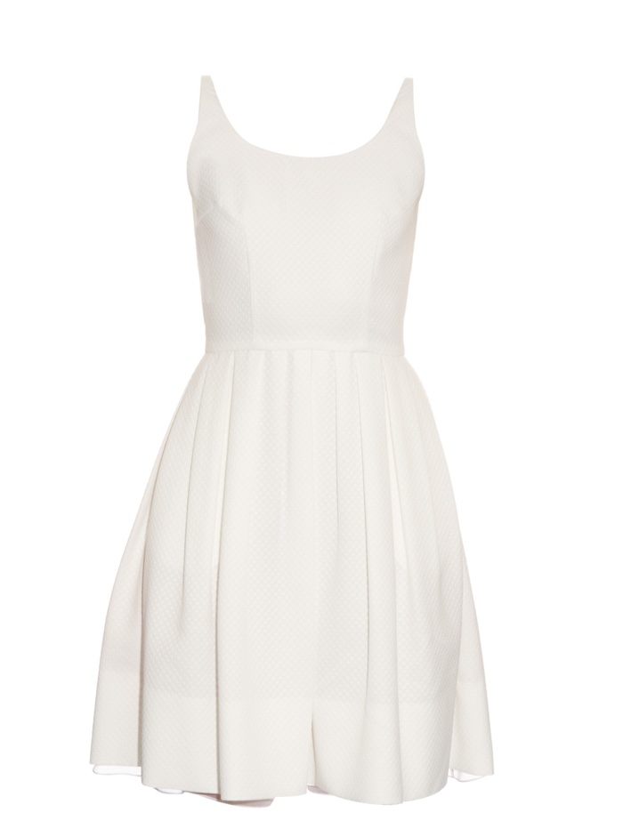Sophie Theallet White Diamond Jacquard Pleated Dress