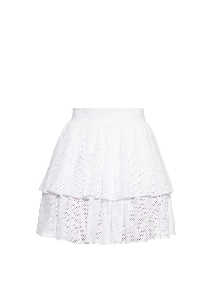 Sophie Theallet Tiered Ruffle White Mini Skirt