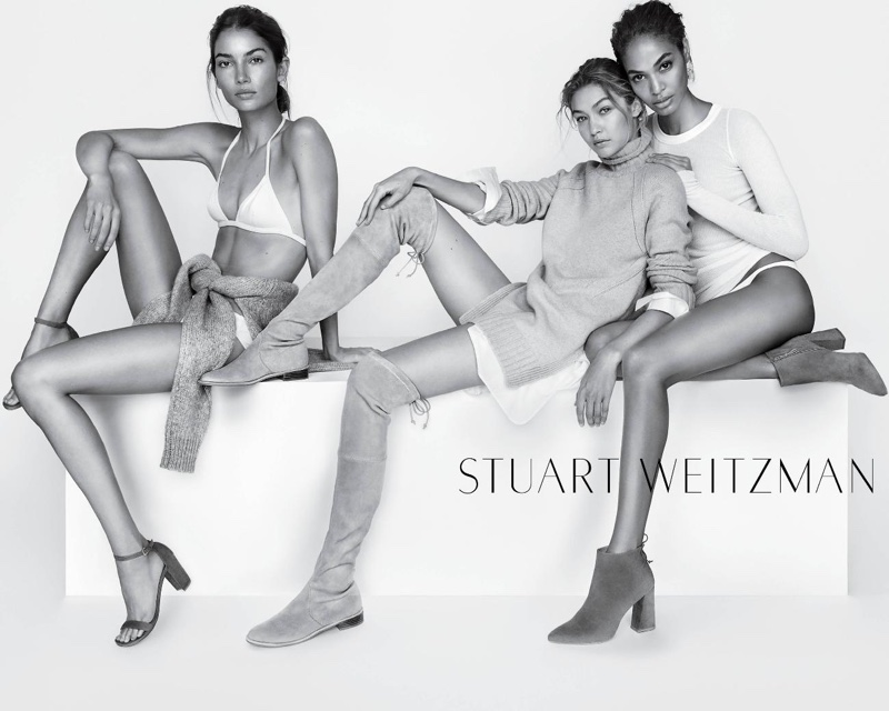 Lily Aldridge, Gigi Hadid and Joan Smalls for Stuart Weitzman's spring 2016 campaign