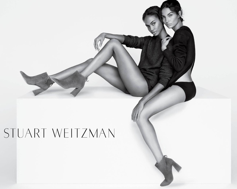 Joan Smalls and Lily Aldridge pose in Stuart Weitzman's spring-summer 2016 campaign