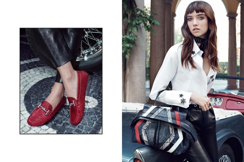 Grace Hartzel poses with Tod's Wave Bag in spring 2016 campaign