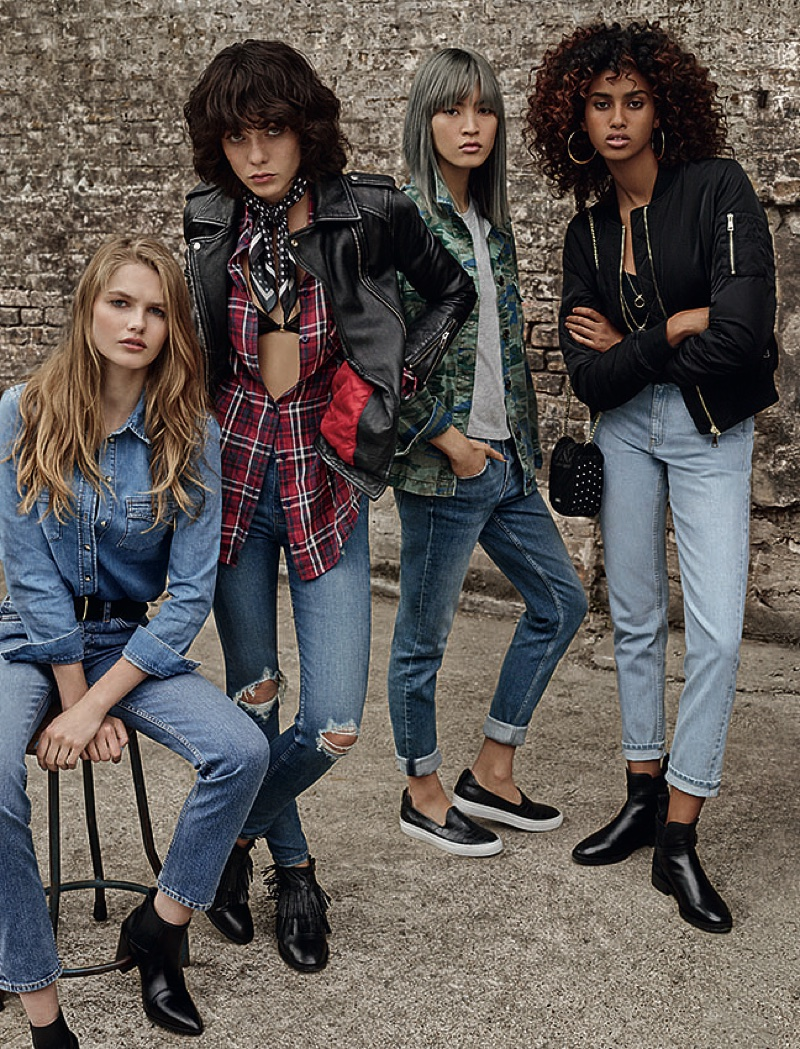 Imaan Hammam poses with for Topshop's spring 2016 denim campaign