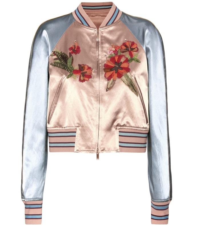Valentino Hawaiian Couture Satin Bomber Jacket