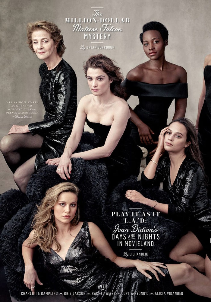Charlotte Rampling, Brie Larson, Rachel Weisz, Lupita Nyong'o and Alicia Vikander on Vanity Fair 2016 Hollywood Issue cover. Photo: Annie Leibovitz