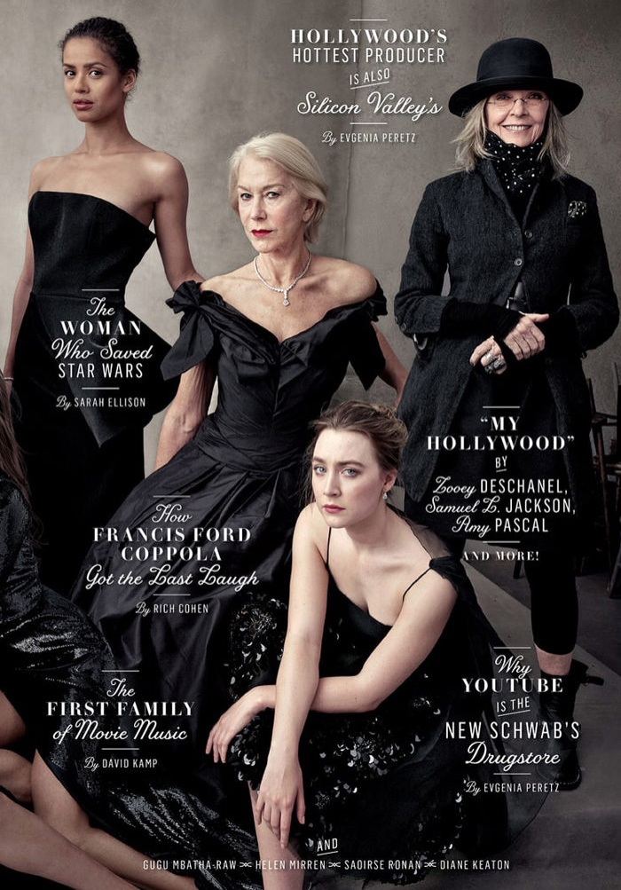 Gugu Mbatha-Raw, Helen Mirren, Saoirse Ronan and Diane Keaton on Vanity Fair 2016 Hollywood Issue cover. Photo: Annie Leibovitz